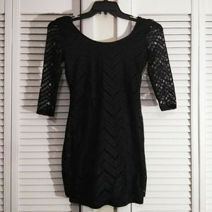 Speechless Lacey 3/4 Sleeve Black Dress
